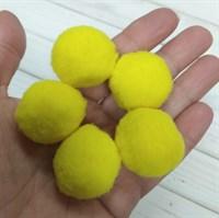 Помпоны синтетические, диаметр 3 см, цвет лимонный, 5 шт.