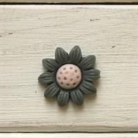 Кабошон пластиковый Ромашка, цвет серый,  20 мм, 1 шт.
