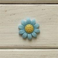Кабошон пластиковый Ромашка, цвет голубой,  20 мм, 1 шт.